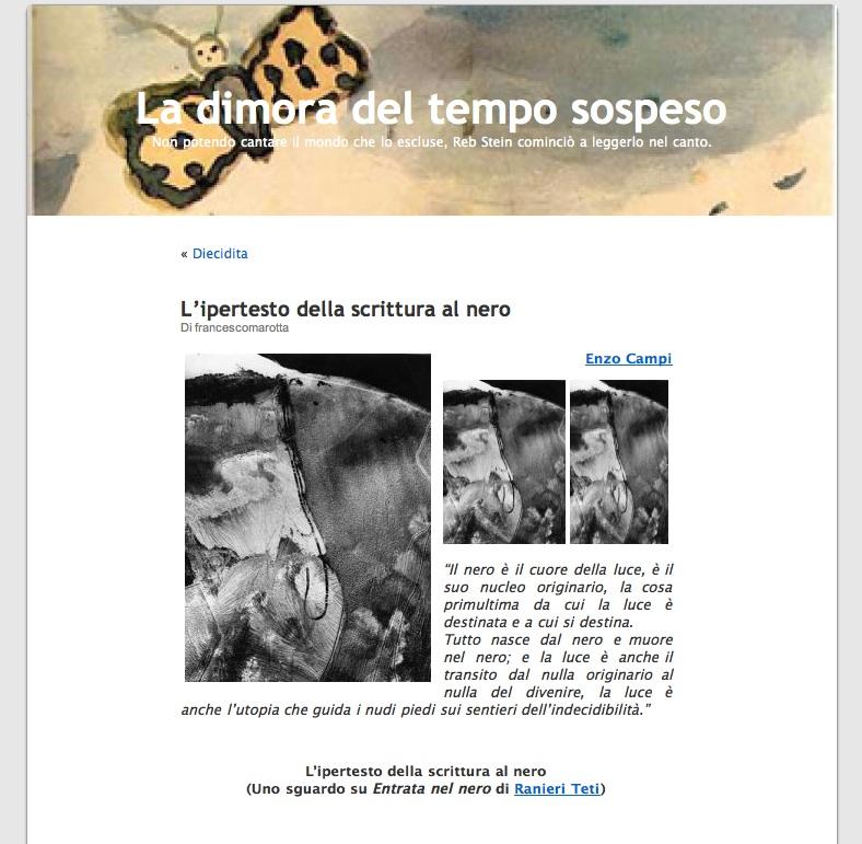 """Enzo Campi su """"Entrata nel nero"""" di Ranieri Teti"""