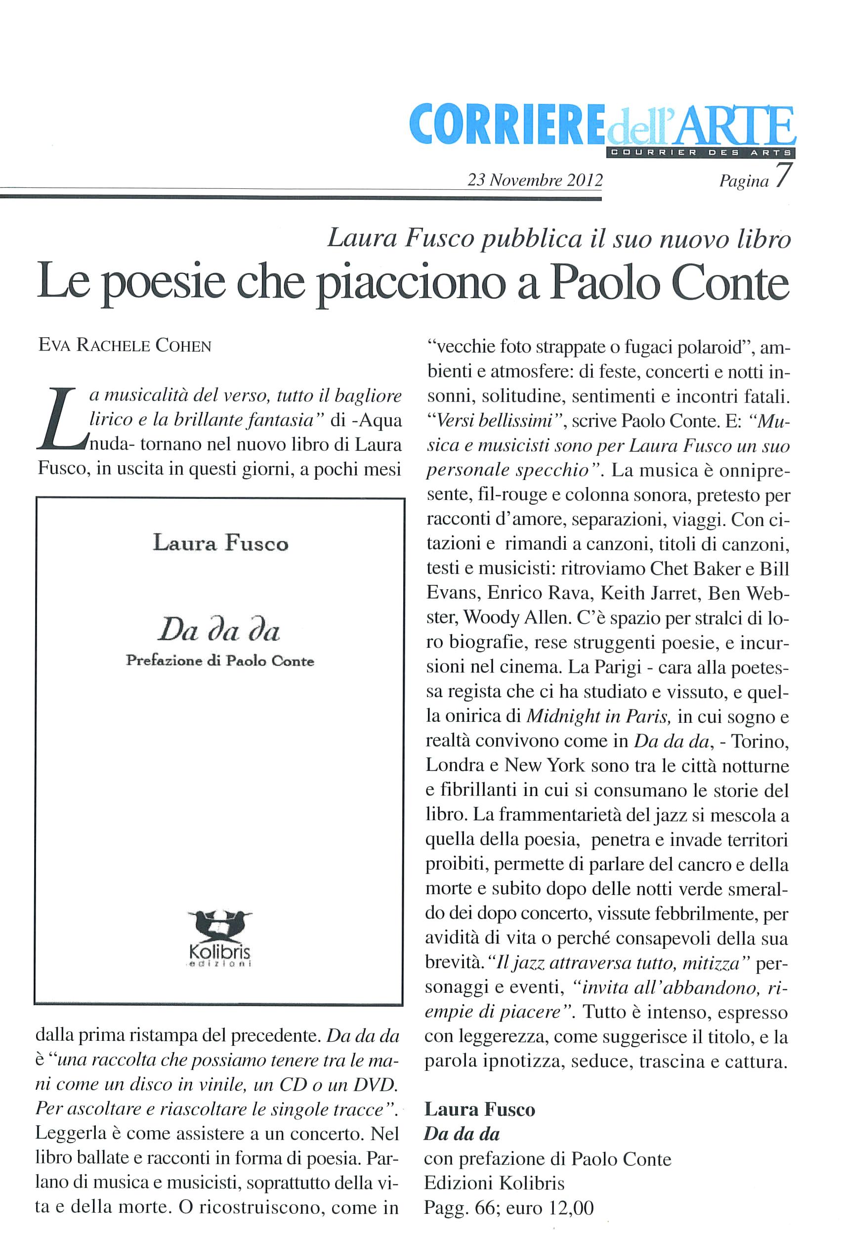 """Recensione a """"Da da da"""" di Laura Fusco sul """"Corriere dell'Arte"""""""
