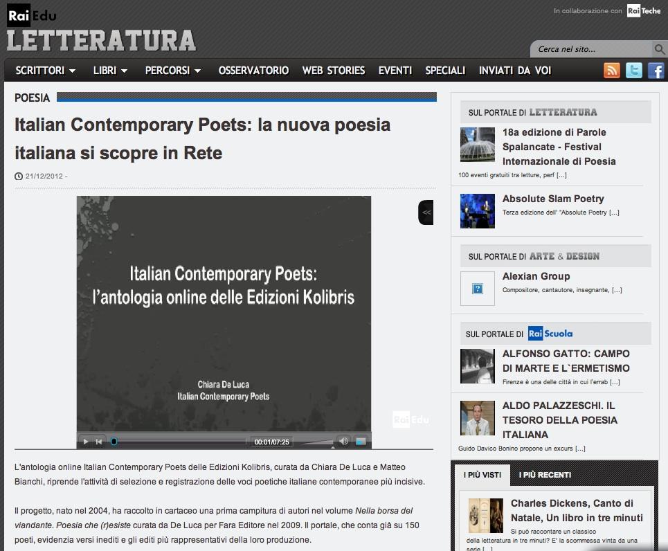 Italian Contemporary Poets su Rai Educational – Intervista a Chiara De Luca