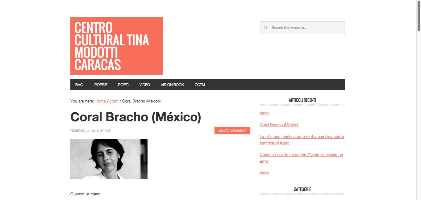 Coral Bracho sul sito del Centro Cultural Tina Modotti di Caracas