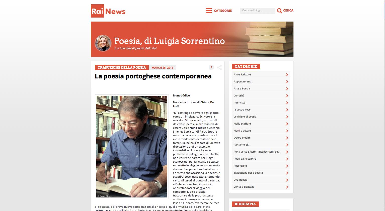 Nuno Júdice sul sito di Rai News
