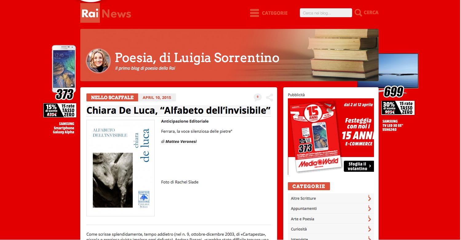 """""""Alfabeto dell'invisibile"""" sul sito di Rai News"""