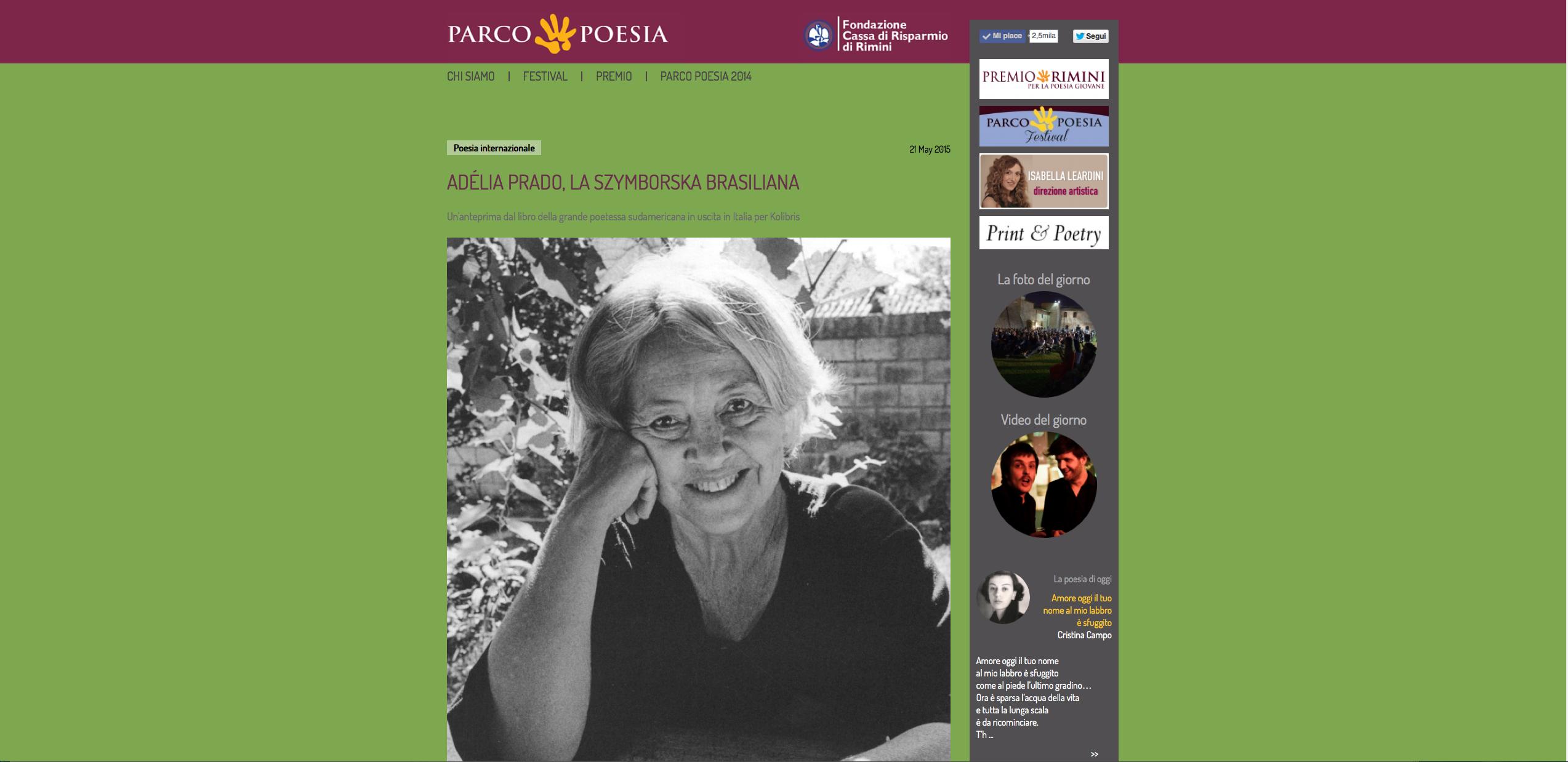 Adélia Prado sul sito di Parco Poesia
